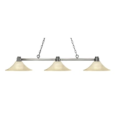 Z-Lite 314BN-FGM16 Park Brushed Nickel Island/Billiard, 3 Bulb, Fluted Golden Mottle Glass