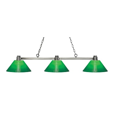 Z-Lite 314BN-GCG14 Park Brushed Nickel Island/Billiard, 3 Bulb, Green Cased Glass