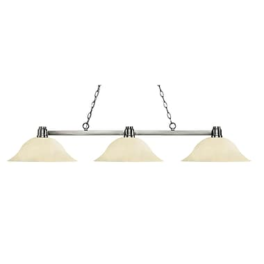 Z-Lite 314BN-GM16 Park Brushed Nickel Island/Billiard, 3 Bulb, Golden Mottle Glass