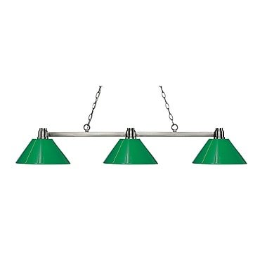 Z-Lite 314BN-PGR Park Brushed Nickel Island/Billiard, 3 Bulb, Green Plastic