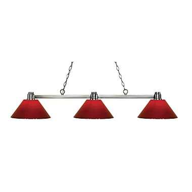 Z-Lite 314BN-PRD Park Brushed Nickel Island/Billiard, 3 Bulb, Red Plastic