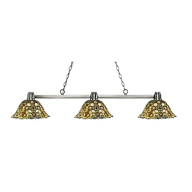 Z-Lite 314BN-R14A Park Brushed Nickel Island/Billiard, 3 Bulb, Multi-Coloured Tiffany Glass
