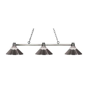 Z-Lite – Luminaire pour îlot/billard Park en nickel brossé 314BN-RBN, 3 amp., verre tran. strié, métal et verre en nickel brossé