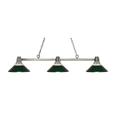 Z-Lite 314BN-RDG Park Brushed Nickel Island/Billiard, 3 Bulb, Clear Ribbed Glass & Dark Green Both Glass & Metal