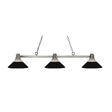 Z-Lite 314BN-RMB Park Brushed Nickel Island/Billiard, 3 Bulb, Clear Ribbed Glass & Matte Black Both Glass & Metal