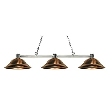 Z-Lite 314BN-SAC Park Brushed Nickel Island/Billiard, 3 Bulb, Stepped Antique Copper Metal