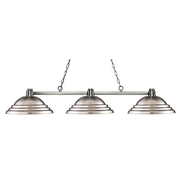 Z-Lite 314BN-SBN Park Brushed Nickel Island/Billiard, 3 Bulb, Stepped Brushed Nickel Metal