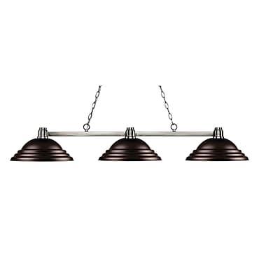Z-Lite – Luminaire suspendu Park au fini nickel brossé 314BN-SBRZ, 3 amp., métal de couleur bronze à relief