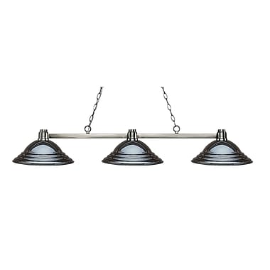 Z-Lite 314BN-SGM Park Brushed Nickel Island/Billiard, 3 Bulb, Stepped Gun Metal