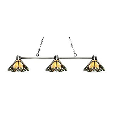 Z-Lite 314BN-Z14-37 Park Brushed Nickel Island/Billiard, 3 Bulb, Multi-Coloured Tiffany Glass