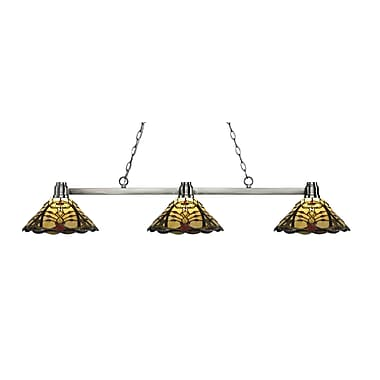 Z-Lite 314BN-Z14-46 Park Brushed Nickel Island/Billiard, 3 Bulb, Multi-Coloured Tiffany Glass