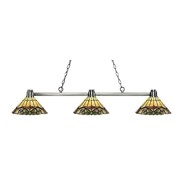 Z-Lite 314BN-Z14-49 Park Brushed Nickel Island/Billiard, 3 Bulb, Multi-Coloured Tiffany Glass
