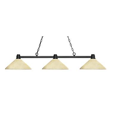 Z-Lite – Luminaire suspendu Park au fini bronze pour îlot/table de billard 314BRZ-AGM14, 3 amp., incl., verre marbre doré