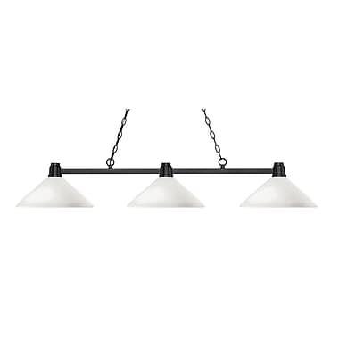 Z-Lite – Luminaire suspendu Park au fini bronze pour îlot/table de billard 314BRZ-AMO14, 3 amp., incl., verre opale mat