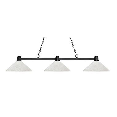 Z-Lite – Luminaire suspendu Park au fini bronze pour îlot/table de billard 314BRZ-AWL14, 3 amp., incl., verre lin blanc