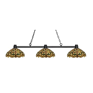Z-Lite 314BRZ-C14 Park Bronze Island/Billiard, 3 Bulb, Multi-Coloured Tiffany Glass