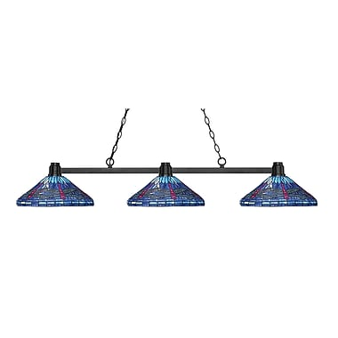 Z-Lite 314BRZ-D16-1 Park Bronze Island/Billiard, 3 Bulb, Multi-Coloured Tiffany Glass