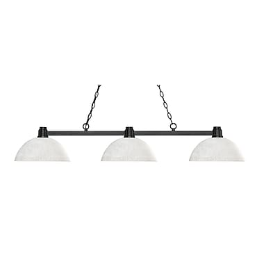 Z-Lite 314BRZ-DWL14 Park Bronze Island/Billiard, 3 Bulb, Dome White Linen Glass