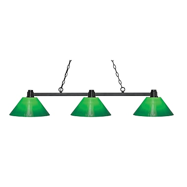 Z-Lite 314BRZ-GCG14 Park Bronze Island/Billiard, 3 Bulb, Green Cased Glass