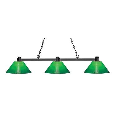 Z-Lite – Luminaire Park au fini bronze pour îlot/table de billard 314BRZ-GCG14, 3 amp., verre doublé vert