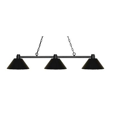 Z-Lite – Luminaire suspendu Park au fini bronze pour îlot/table de billard 314BRZ-PBK, 3 amp., plastique noir