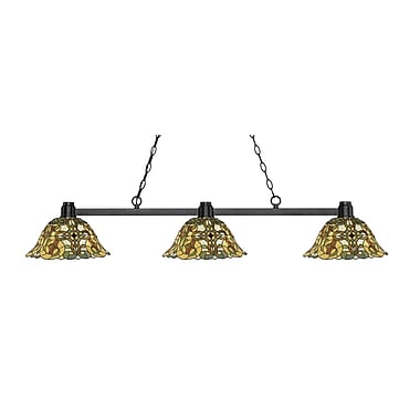 Z-Lite 314BRZ-R14A Park Bronze Island/Billiard, 3 Bulb, Multi-Coloured Tiffany Glass