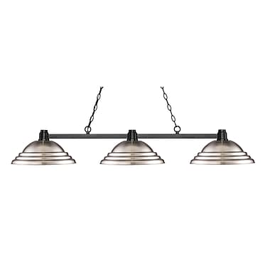 Z-Lite 314BRZ-SBN Park Bronze Island/Billiard, 3 Bulb, Stepped Brushed Nickel Metal