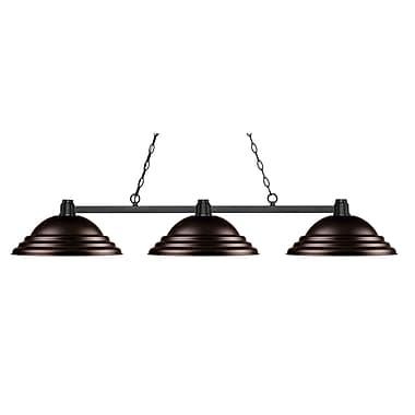 Z-Lite – Luminaire suspendu Park au fini bronze pour îlot/table de billard 314BRZ-SBRZ, 3 amp., métal bronze à relief