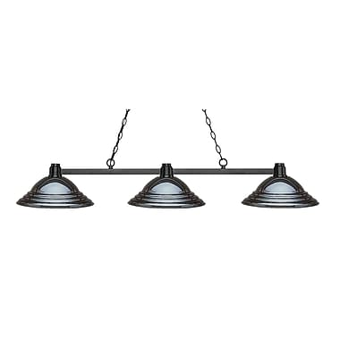 Z-Lite 314BRZ-SGM Park Bronze Island/Billiard, 3 Bulb, Stepped Gun Metal