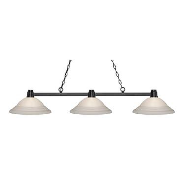 Z-Lite – Luminaire suspendu Park au fini bronze pour îlot/table de billard 314BRZ-SW16, 3 amp., verre torsadé blanc