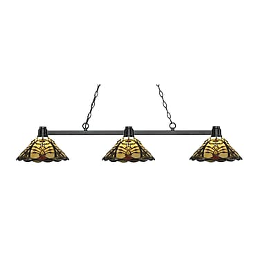 Z-Lite 314BRZ-Z14-46 Park Bronze Island/Billiard, 3 Bulb, Multi-Coloured Tiffany Glass