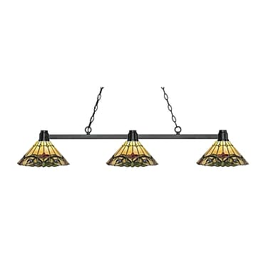 Z-Lite 314BRZ-Z14-49 Park Bronze Island/Billiard, 3 Bulb, Multi-Coloured Tiffany Glass