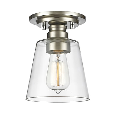 Z-Lite 428F1-BN Annora Flush Mount, 1 Bulb, Clear Glass