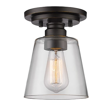 Z-Lite 428F1-OB Annora Flush Mount, 1 Bulb, Clear Glass