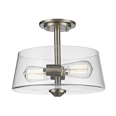 Z-Lite 428SF2-BN Annora Semi Flush Mount, 2 Bulb, Clear Glass