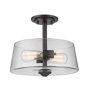 Z-Lite 428SF2-OB Annora Semi Flush Mount, 2 Bulb, Clear Glass