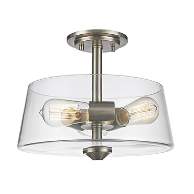 Z-Lite 428SF3-BN Annora Semi Flush Mount, 3 Bulb, Clear Glass