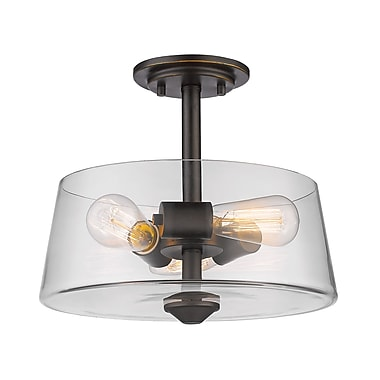 Z-Lite 428SF3-OB Annora Semi Flush Mount, 3 Bulb, Clear Glass
