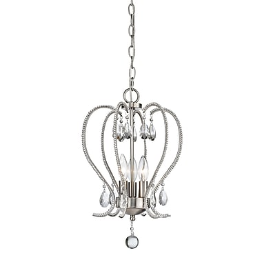 Z-Lite 429-3-BN Serenade Mini Chandelier, 3 Bulb, Clear Crystal