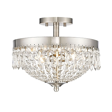 Z-Lite 431SF3-BN Danza Semi Flush Mount, 3 Bulb, Clear Crystal