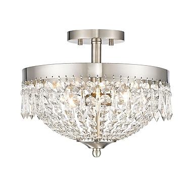 Z-Lite – Plafonnier semi-encastré Danza 431SF3-BN, 3 ampoules, cristal transparent