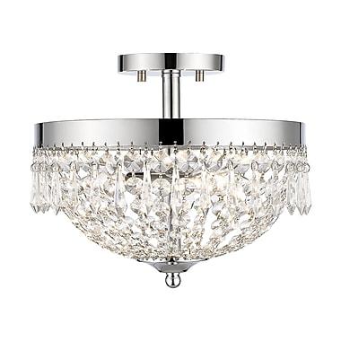 Z-Lite – Plafonnier semi-encastré Danza 431SF3-CH, 3 ampoules, cristal transparent