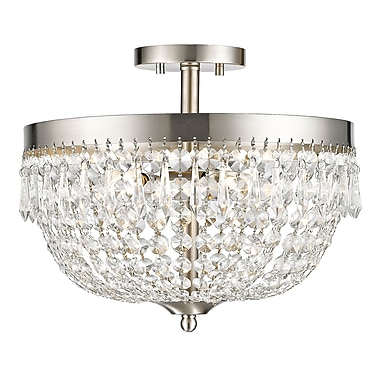 Z-Lite 431SF4-BN Danza Semi Flush Mount, 4 Bulb, Clear Crystal
