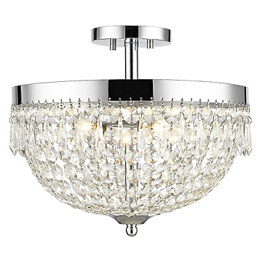 Z-Lite 431SF4-CH Danza Semi Flush Mount, 4 Bulb, Clear Crystal