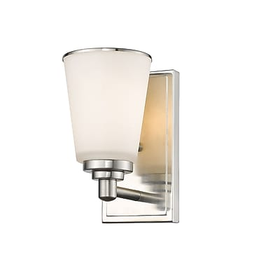 Z-Lite 432-1S-BN Jarra Wall Sconce, 1 Bulb, White Glass