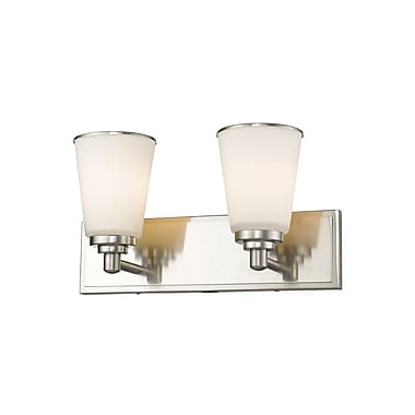 Z-Lite 432-2V-BN Jarra Vanity, 2 Bulb, White Glass