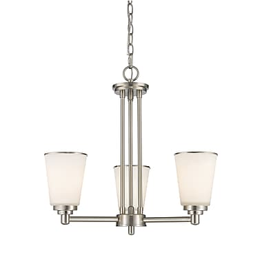 Z-Lite 432-3BN Jarra Chandelier, 3 Bulb, White Glass