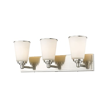 Z-Lite 432-3V-BN Jarra Vanity, 3 Bulb, White Glass