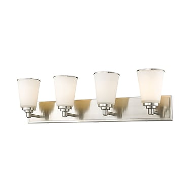 Z-Lite 432-4V-BN Jarra Vanity, 4 Bulb, White Glass
