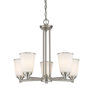 Z-Lite 432-5BN Jarra Chandelier, 5 Bulb, White Glass